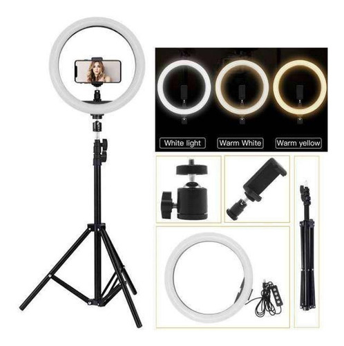 aro de luz led 26 cm usb foto video maquillaje + tripode 2mt