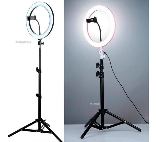 aro de luz led 26cm 10/14/18 pulgadas + tripode 210cm