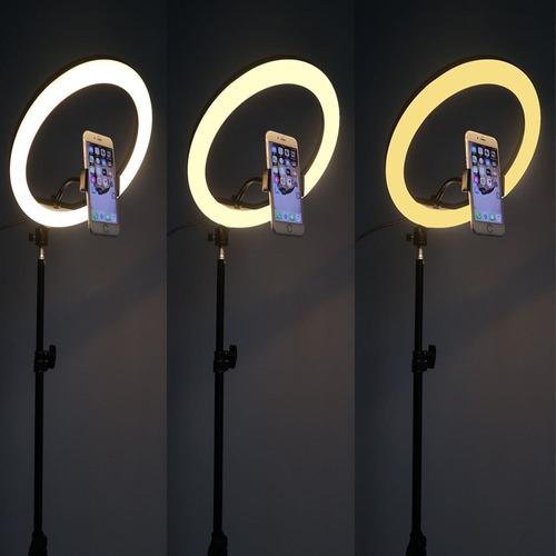 aro de luz led 26cm + soporte para celular  + trípode 2.10 m