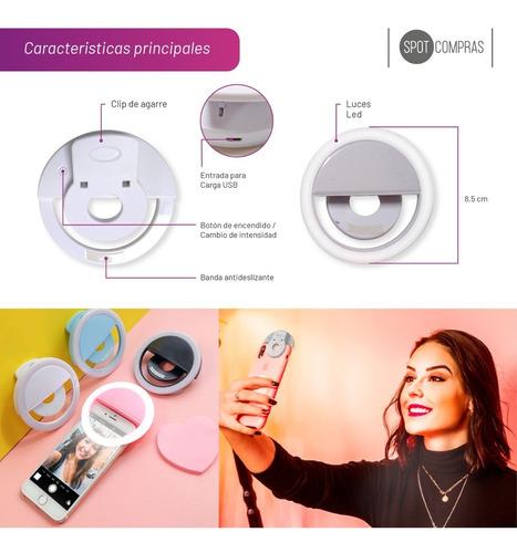 aro de luz led celular selfie 8.5cm recargable usb
