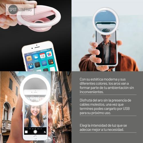 aro de luz led celular selfie recargable usb ring light