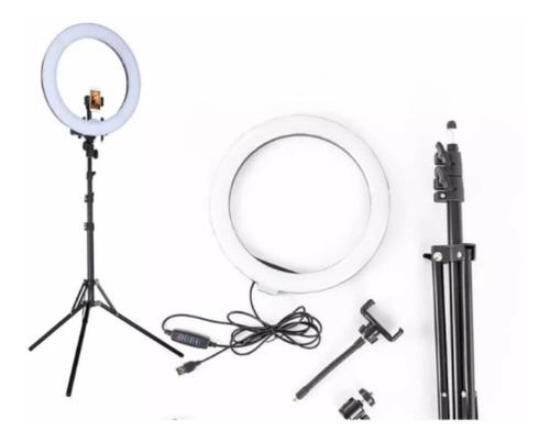 aro de luz led para fotografia, make up con paral tripoide