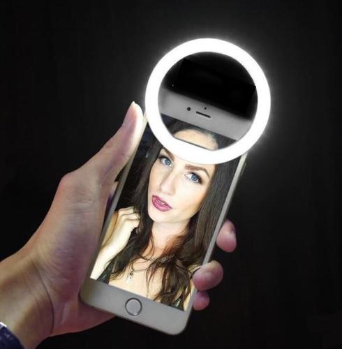 aro de luz led para selfies recargable sin baterías ( rosado