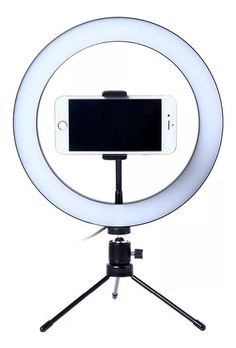 aro de luz para fotografia 26cm foco bluetooth + tripode