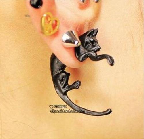 aro ear cuff aro solitario gato negro