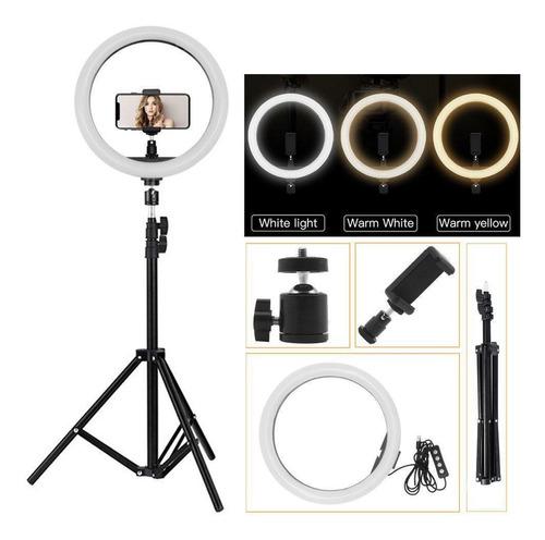 aro luz led con tripode 210cm para fotografías 3 tonos