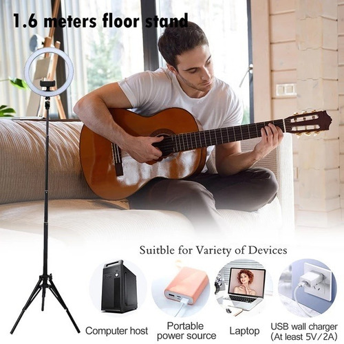 aro luz led selfie fotografía 26 cm trípode ajustable