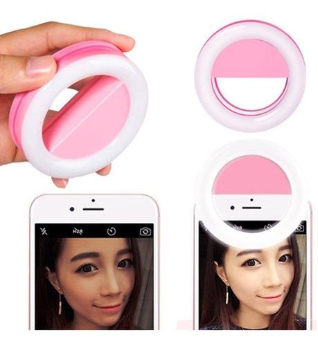 aro luz led selfies celular tablet rosa 8.5cm recargable usb