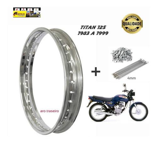 aro roda traseiro moto cg 125 1983 a 1999 + jg raios 4mm