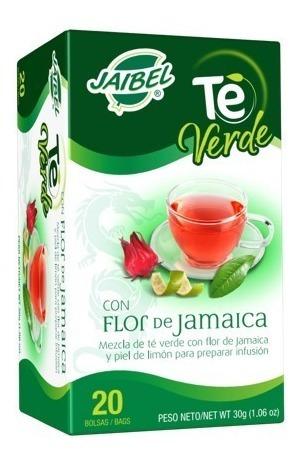 aromatica jaibel te verde con flor de jamaica x 20 unidades