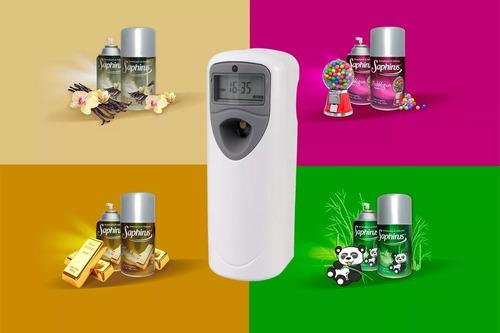 aromatizador digital + fragancia saphirus + 4 pilas aa