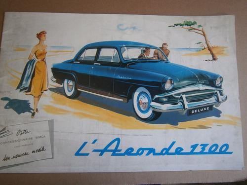 aronde 1300 nuevo modelo de simca booklet informativo 1956