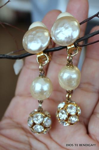 aros a presion colgantes vintage perlas y cristales