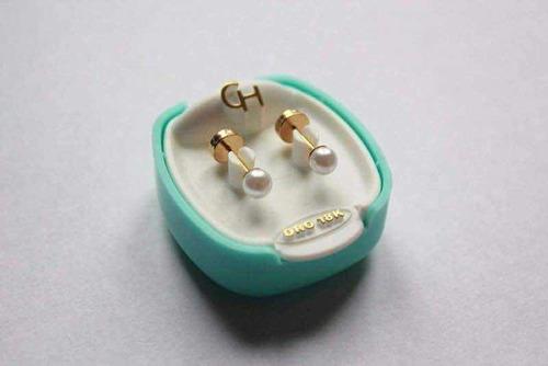 aros abridores bebe oro 18kts con perla 4mm ch-110 | envio