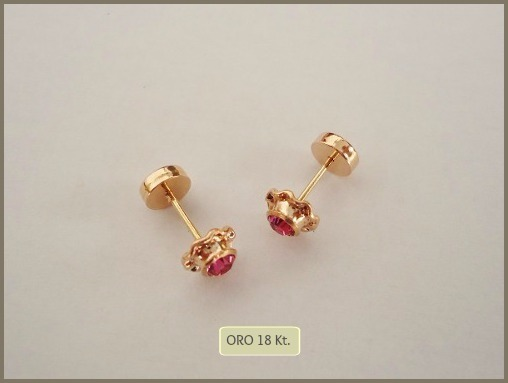 47396cd501bc Aros Abridores Oro 18 Kt Piedra Cubic Med Rosa Bebé Nena -   1.074 ...