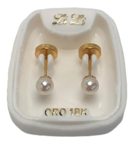 aros abridores oro 18k perla cultivo 3 mm garantia escrita