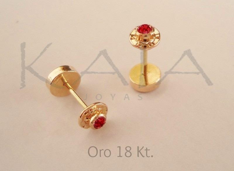 eb484b28c735 aros abridores oro 18kt piedra cúbic chico rojo bebés. Cargando zoom.