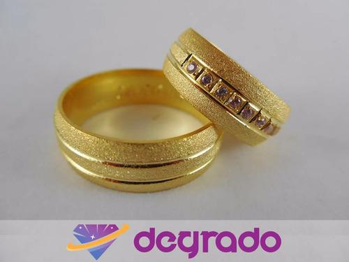 aros anillos de boda matrimonio con baño de oro 18k