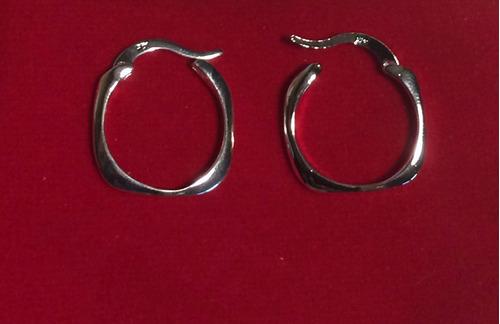 aros argolla cuadrada diseño joyas plata 925 c caja