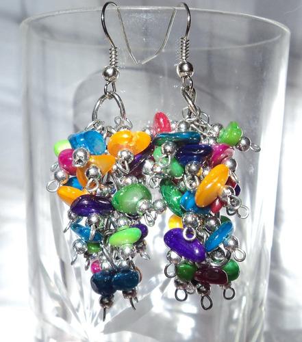 aros artesanales en nacar multicolor
