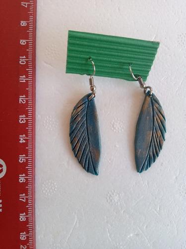 aros artesanales regalo reyes únicos! hojas azul