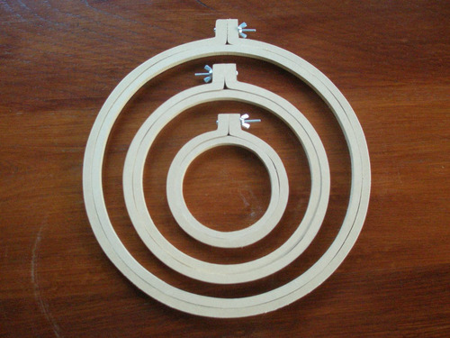 aros bastidor bordado de 27cm en madera fibrofacil