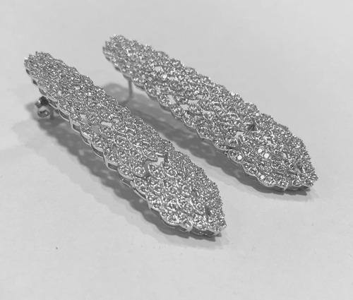 aros colgantes de plata 925 rodinada con cubic 20178