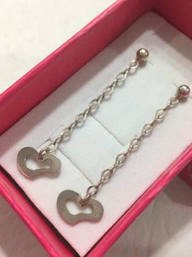 aros colgantes de plata corazon
