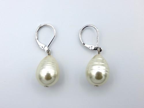 aros colgantes perla de mallorca barroca (plateado).