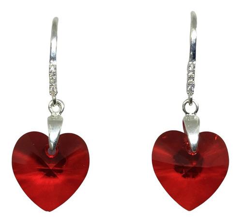 aros corazón cristal de swarovski 14 mm y plata original
