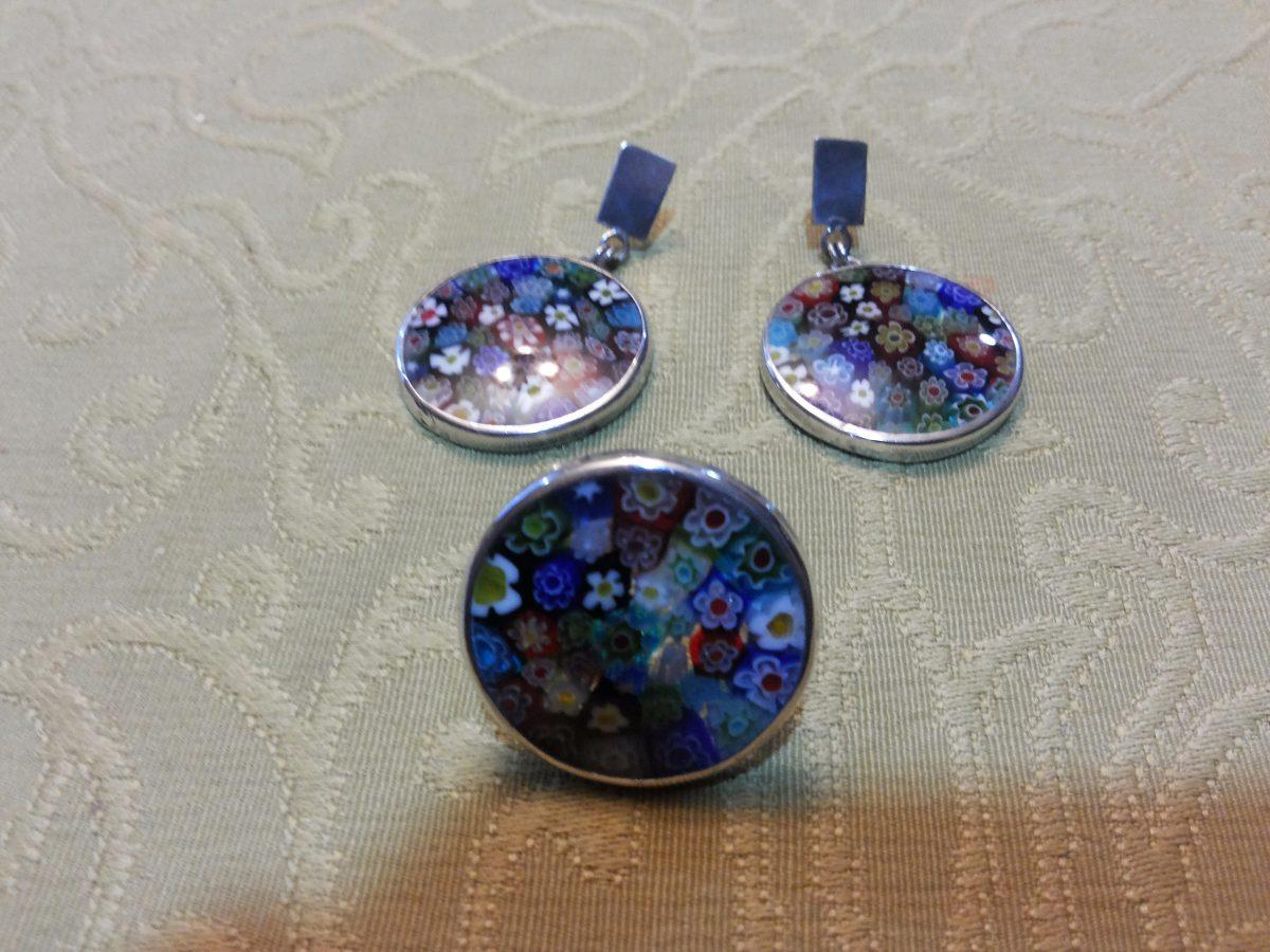 Conjunto anillo y aros cristal de murano y plata en mercado libre - Anillo cristal murano ...
