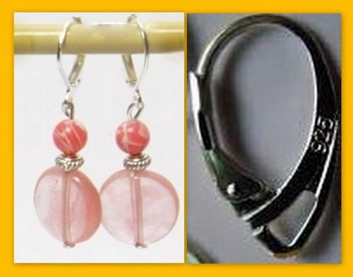 aros cuarzo rosa y rodocrosita+taller cuarzos virtual