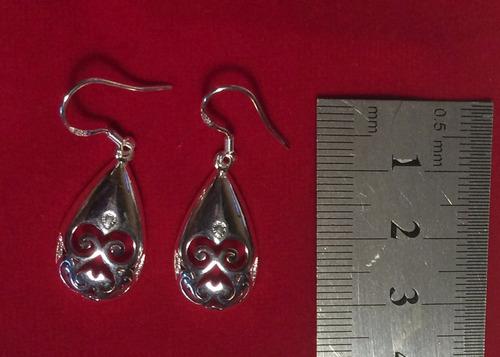 aros de gota con diseño joyas plata 925 modelo ok