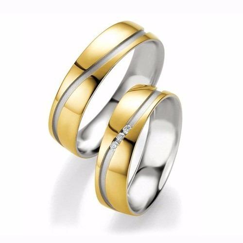 bdedb27e0bb8 Aros De Matrimonio En Oro Blanco-amarillo De 18k.zirconería - S ...