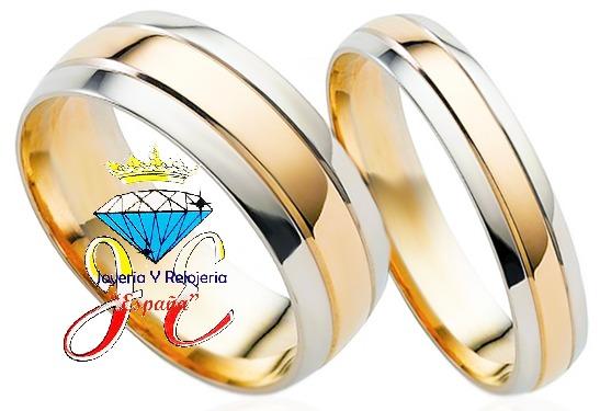 981094879745 Aros De Matrimonio Oro Amarillo Y Blanco De 18k Mod 7 Oferta - S  3.370