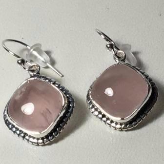 aros de plata 925 con cuarzo rosa cuadrados