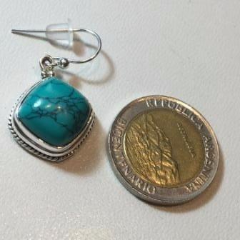 aros de plata 925 con piedra turquesa autentica