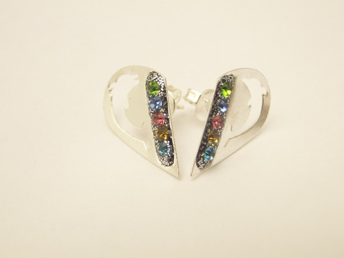 aros de plata 925(no bañados) corazon con zirconia pke108