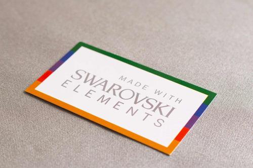 aros de plata con cristales swarovski original, 12 mm