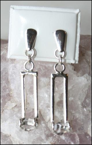 aros de plata con cuarzo herkimer