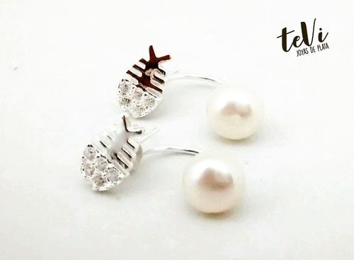 aros de plata con strass y perlas