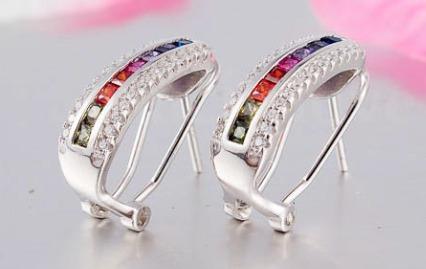 aros diseno rainbow tipo rectangulo plata 925 de arcoiris