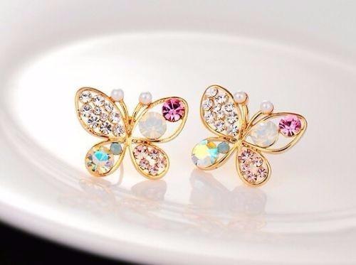 aros mariposa multicolor bañados en oro