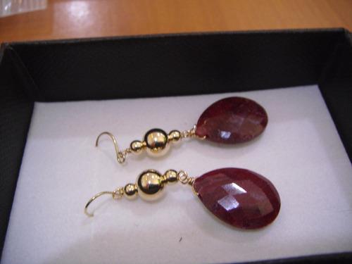 aros oro 14 k y rubies