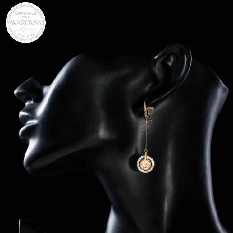 d65e370e45d4 joyas swarovski aros bañados oro rosa rivoli golden shadow · joyas aros oro  · aros oro joyas