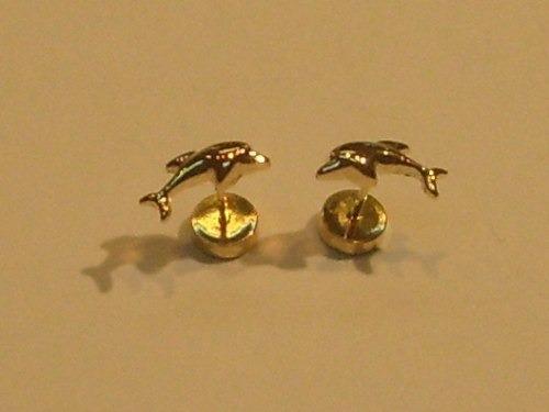 aros oro para bebe delfines