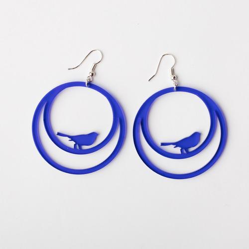 aros pajarito circular acrílico azul - belgrano