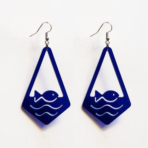 aros pez acrílico azul/negro ó blanco - belgrano