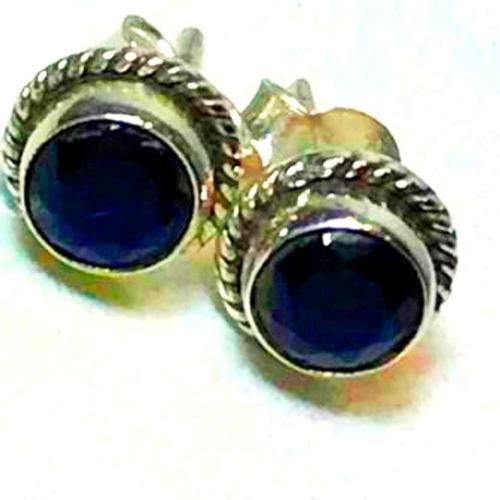 aros plata 925 con zafiro azul facetado pequeños