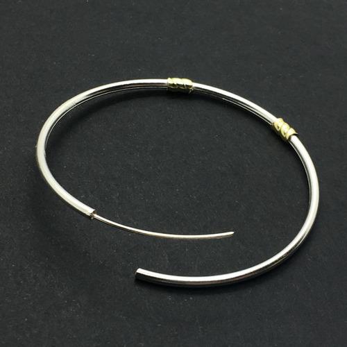 aros  plata argollas cubanos con oro 4 cm (ma71)